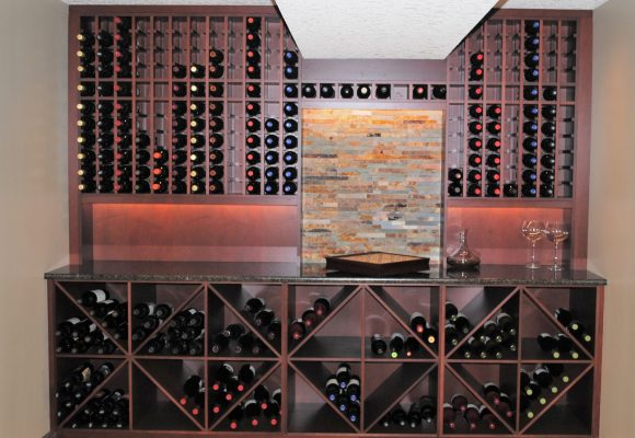 A wine feature wall installed by Refine Renovations
