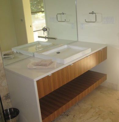 Modern vanity installed by Refine Renovations during a bathroom renovation